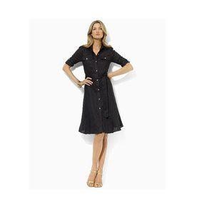 Ralph Lauren Linen Shirt Dress Black Sz M/L/XL